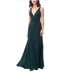 Jenny Yoo Collection Green Plunging Neckline Gown